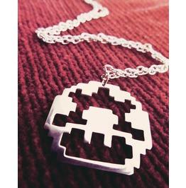 Power Up Mushroom Pixel Pendant Necklace