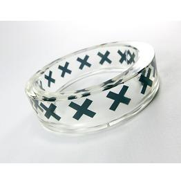 Transparent Resin Bangle Black X Crosses Design