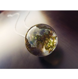 Moss Filled Sphere Orb Necklace H. Quality Epoxy Resin