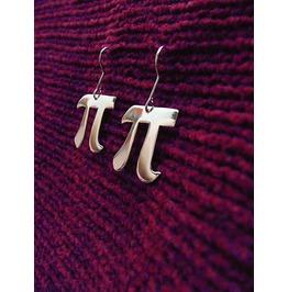 Pi Symbol Letter Earrings Math Silhouette