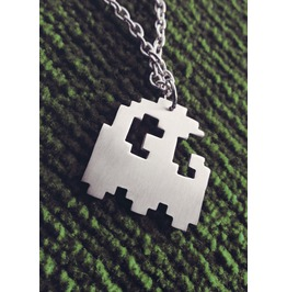 Ghost Silhouette Necklace Pixel 8bit Art