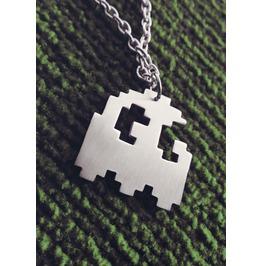 Ghost Silhouette Necklace Pixel 8bit Art