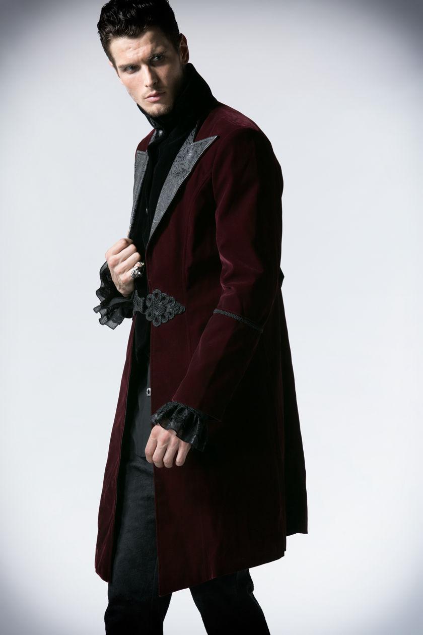 Red Velvet Gothic Chinese Style Trench Coat For Men 97103