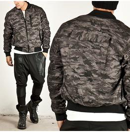 Pre Wrinkled Dark Gray Camouflage Blouson Jacket 150