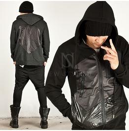 Multiple Leather & Zipper Accent Slim Zip Up Hoodie 59