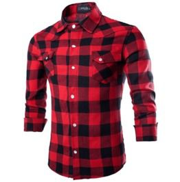 Mens long sleeve checked plaid shirt shirts
