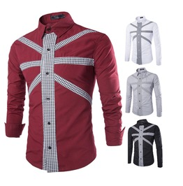 Men's Grid Color Block Casual Shirt