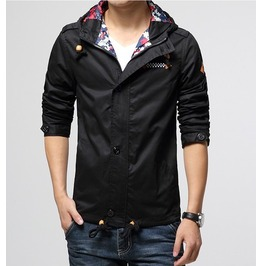 Men's Black/Navy/Khaki Button Up Hooded Winter Jacket
