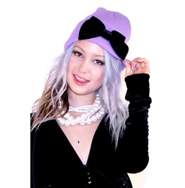 Bow Beanie In Bby Purple