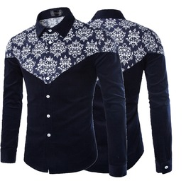 Men's Winter Floral Print Casual Shirt