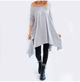 Grey Long Sleeve Asymmetric Loose Dress