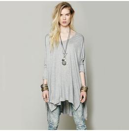 Grey Long Sleeve Asymmetric Newest Novelty Loose T Shirt Top