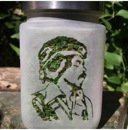 Jimi Hendrix Etched Glass Stash Jar