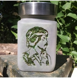 Jimi Hendrix Etched Glass Stash Jar