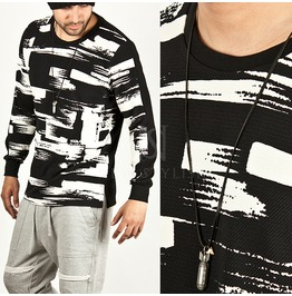 Brush Touch Pattern Accent Side Incision Tee 364