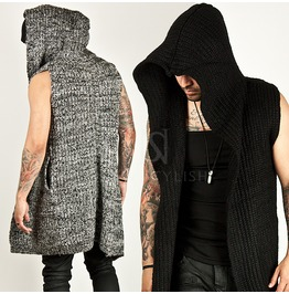Knit Long Hood Open Vest 53