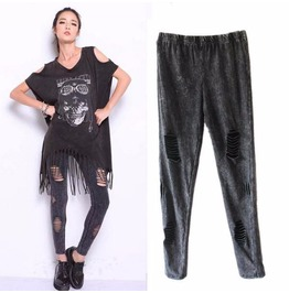 Slashed/Ripped Punk Goth Gray Leggings