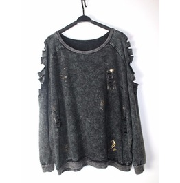 Punk Rock Slashed/Ripped Long Sleeve Gray Sweatshirt