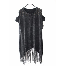 Punk Rock Sleeveless Tassel Top T Shirts Tees