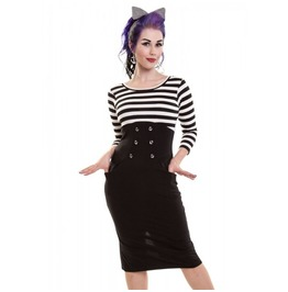 50s Style Pencil Dress Rockabilly Rock Alternative Stripes Black White