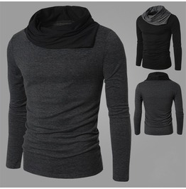 Men's Black/Gray Long Sleeve Turtleneck T Shirt