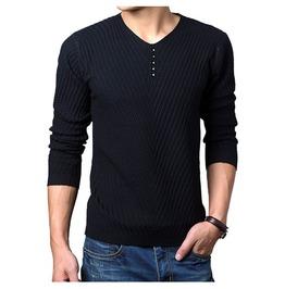 Men's Black/Navy/Coffee/Red Long Sleeve V Neck Sweater