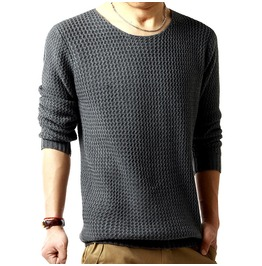Men's Black/Gray/White Long Sleeve Wool Sweaters