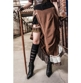 Brown/Army Green Steampunk Buckled Side Slit Full Length Skirt Plus Sizes