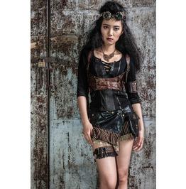 Steampunk/Gothic Black/Brown Faux Leather Bra Harness/Bodice