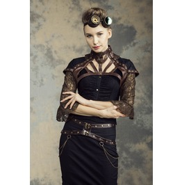 Gothic Steampunk Black/Brown Faux Leather Lace Brocade Bolero Top