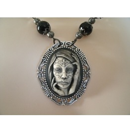 Gothic Woman Necklace, Goth Zombie Steampunk