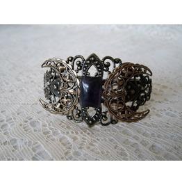 Amethyst Triple Moon Brass Cuff Bracelet, Gothic Wiccan Pagan Witchcraft