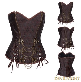 Brown Brocade Overbust Steampunk Corset