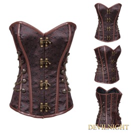 Brown Military Inspired Overbust Steampunk Corset