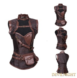 Brown Overbust Steampunk Corset With Jacket