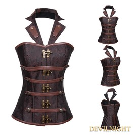 Brown Brocade Underbust Steampunk Corset With Collar