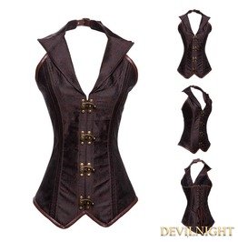 Brown Halter Brocade Overbust Steampunk Corset