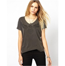 Wing Printed Rounder Collar Short Sleeve Loose Casual T Shirt