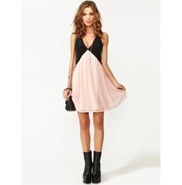 Sleeveless Hollow Out Pink/Black Minidress