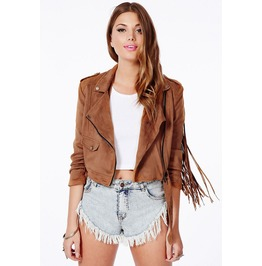 Faux Leather Brown Zip Up Tassel Jacket