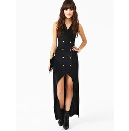 Black double breasted long dress dresses 6