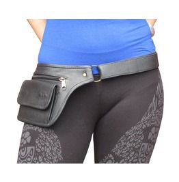 Black Leather Purse Hip Belt Pouch Waist Pack From One Leaf