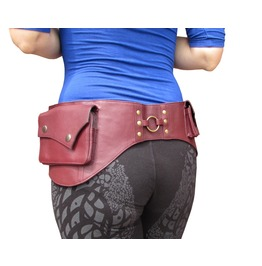 Red Leather Belt Bag Hip Pouch Waist Pack From One Leaf