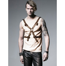 Men's Punk Gothic Industrial Belted Top