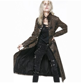 Gothic/Steampunk Lace Up Corseted Military Button Up Trench Coat Jacket