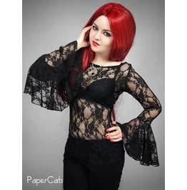 Lace Black Blouse Huge Sleeves Goth Vampire Lace Gothic