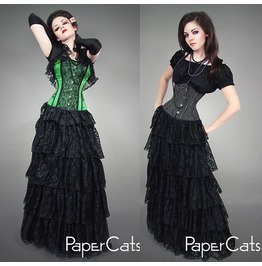 Long Lace Skirt Gothic Wedding Black Goth