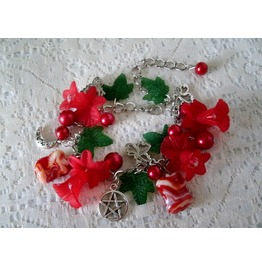 Red Flower Pentacle Bracelet, Witch Witchcraft Wiccan Pagan Pentagram