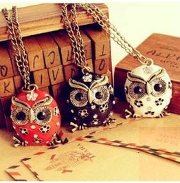 Enamel Owl Long Sweater Necklaces
