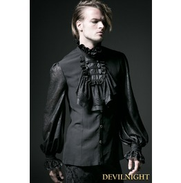 Black Gothic Long Sleeves Chiffon Emnossing Blouse For Men